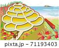 牛くんと棚田4 (紅葉の段々畑と電車) 71193403