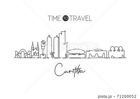 One continuous line drawing Curitiba city skyline, Brazil. Beautiful landmark postcard. World landscape tourism and travel vacation. Editable stylish stroke single line draw design vector illustration 71200052