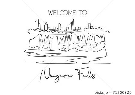 One continuous line drawing Niagara Falls skyline, Canada. Beautiful nature landmark postcard art. World landscape tourism travel vacation. Editable stroke single line draw design vector illustration 71200329