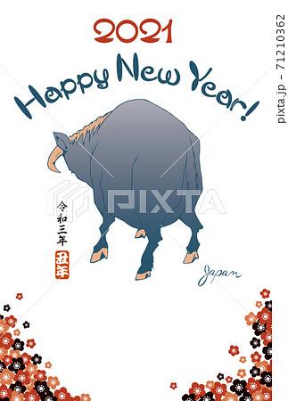 2021年賀状テンプレート「浮世絵風の牛」ハッピーニューイヤー 手書き文字用スペース空き