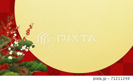 赤い市松模様と松竹梅のおめでたい背景 71211249