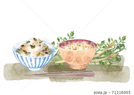 山菜ごはんのセット 水彩イラスト 71216003