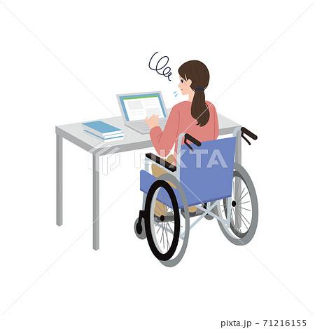 車いすの女性 パソコン作業 イラスト 困っている表情 71216155