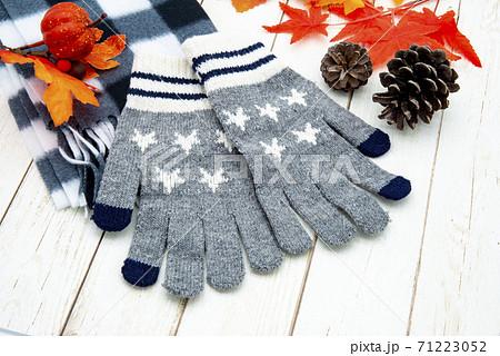 秋冬イメージ 手袋と落ち葉 71223052