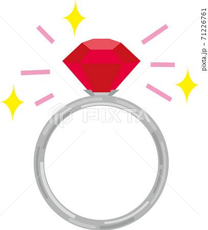キラキラ光るルビーの指輪 71226761