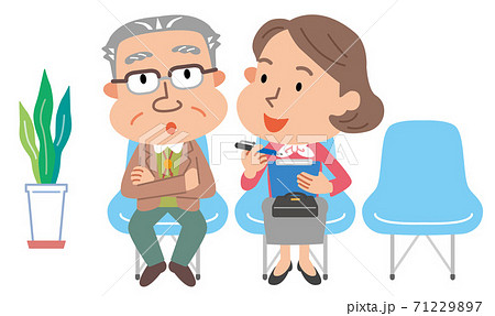 高齢者 フレイル健診 聞き取り 中年女性 イラスト 71229897