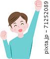 ガッツポーズをする男性 71252089