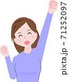 ガッツポーズをする女性 71252097