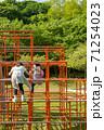 ジャングルジムで遊ぶ子供達 71254023