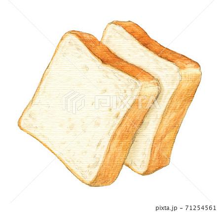 食パン2枚 手描き 水彩色えんぴつ画 71254561