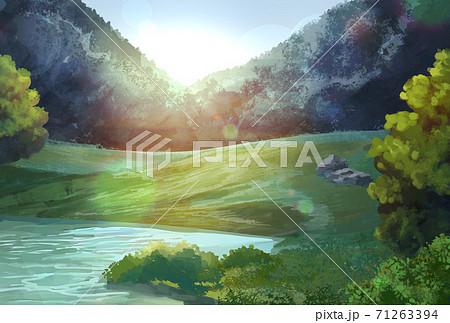 大自然のイラスト、年賀状サイズ 71263394
