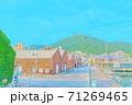[アニメ風] 北海道 函館 金森赤レンガ倉庫周辺の風景 71269465
