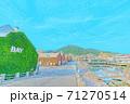 [アニメ風] 北海道 函館 金森赤レンガ倉庫周辺の風景 71270514