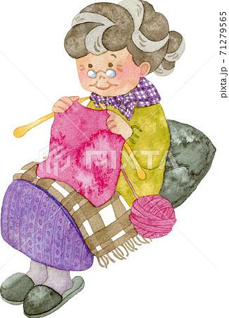 編み物をするおばあさん(全身) 71279565
