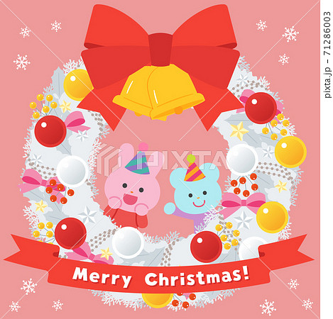 白いクリスマスリース/ウサギとネズミ 71286003