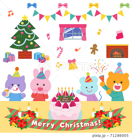 クリスマスパーティーをする動物たち/セット 71286005