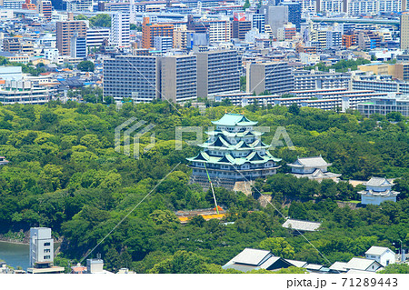 名古屋市、新緑の中に佇む名古屋城の風景 71289443