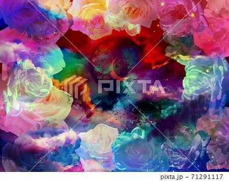怪しい薔薇のフレームとカラフルな色の夜空と三日月の背景 71291117