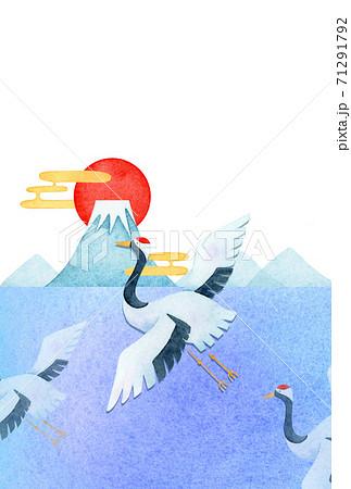 手描き水彩   お正月 鶴 年賀状 イラスト テンプレート 71291792