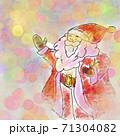 幻想的な冬のクリスマスのサンタクロースのイラスト 71304082