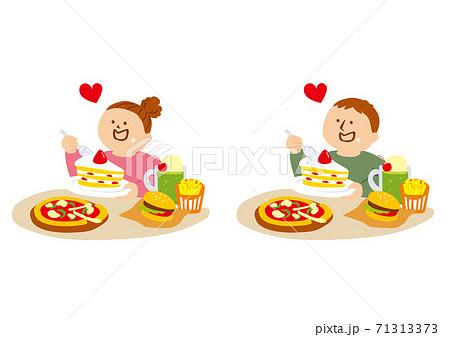 高カロリーな食事をする人物のイラスト 71313373
