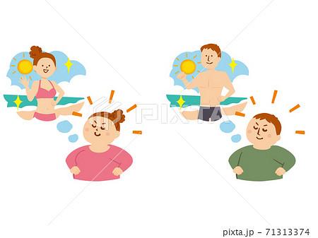 ダイエット後の自分をイメージする人物のイラスト 71313374