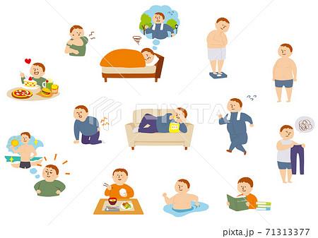 ふくよかな体型の男性の健康と生活 71313377