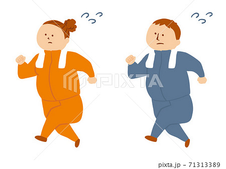 運動をするふくよかな体型の人物のイラスト 71313389