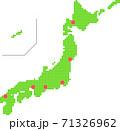 日本地図 ドット 都市所在地 71326962