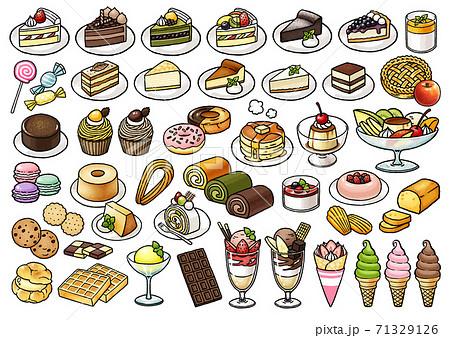 【食べ物イラスト素材】かわいいスイーツの手描きベクターイラストセット【洋菓子・ケーキ】 71329126