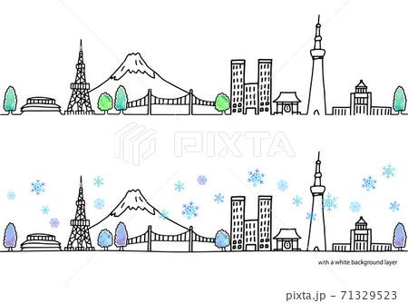 冬の東京の街並み水平イラストセット 71329523