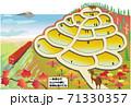 牛くんと棚田5 (紅葉の段々畑と電車・一筆書) 71330357
