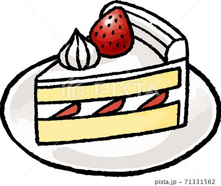 【食べ物イラスト素材】 いちごのショートケーキの手描きベクターイラスト 71331562