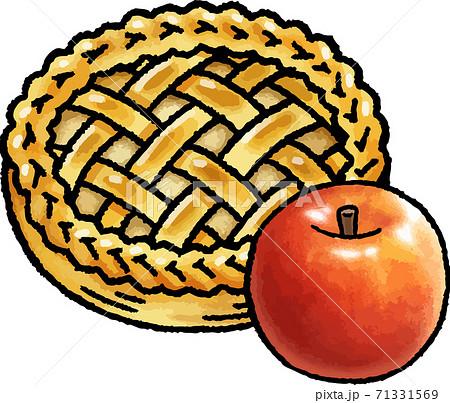 【食べ物イラスト素材】 アップルパイとりんごの手描きベクターイラスト 71331569