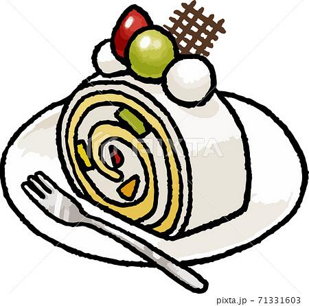 【食べ物イラスト素材】フルーツロールケーキの手描きベクターイラスト 71331603