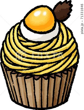 【食べ物イラスト素材】黄色いモンブランの手描きベクターイラスト 71331646