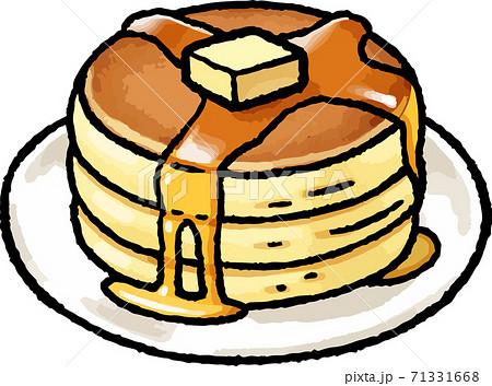 【食べ物イラスト素材】ホットケーキの手描きベクターイラスト 71331668