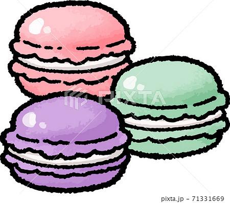 【食べ物イラスト素材】マカロンの手描きベクターイラスト 71331669