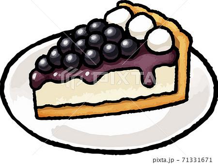 【食べ物イラスト素材】ブルーベリータルトの手描きベクターイラスト 71331671