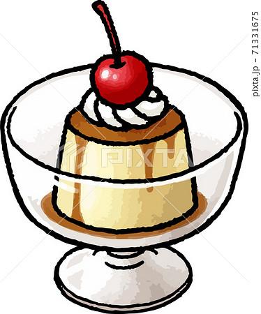 【食べ物イラスト素材】プリンの手描きベクターイラスト 71331675