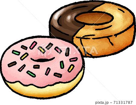 【食べ物イラスト素材】ドーナツの手描きベクターイラスト 71331787
