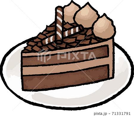 【食べ物イラスト素材】チョコレートケーキの手描きベクターイラスト 71331791