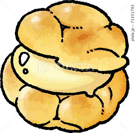 【食べ物イラスト素材】カスタードシュークリームの手描きベクターイラスト 71331793