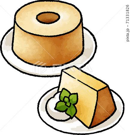 【食べ物イラスト素材】シフォンケーキの手描きベクターイラスト 71331826
