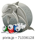 Environment Pollution Illustration And Dolphin 71336128