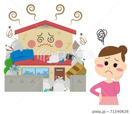 ゴミ屋敷に困る女性 71340626