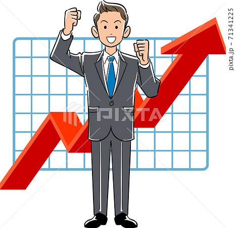 業績上昇を喜ぶ若手ビジネスマン 71341225