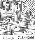 複雑な迷路の混沌としたベクターイラスト 71344266