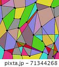 カラフルなステンドグラスのような幾何学的なワイヤーフレーム 71344268
