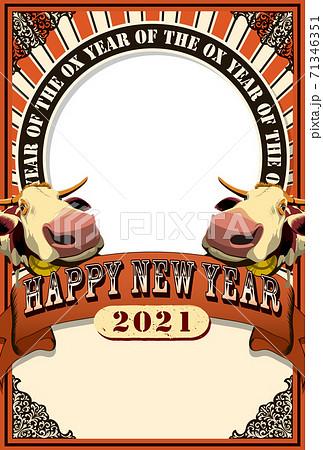 2021年賀状テンプレ「アートポスター風フォトフレーム年賀状」ハッピーニューイヤー 手書き文字用スペ